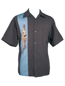 Mens Grey ButtonUp Retro Pin Up Girl Shirt