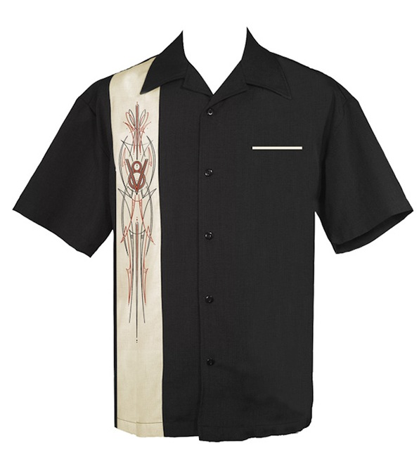 Mens black v8 pinstriped cream panel button up hot rod shirt for Mens dress shirt monogram location