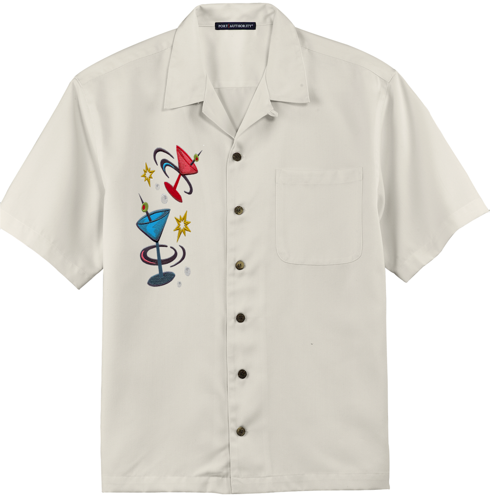 Mens Ivory Embroidered Button Down Camp Shirt