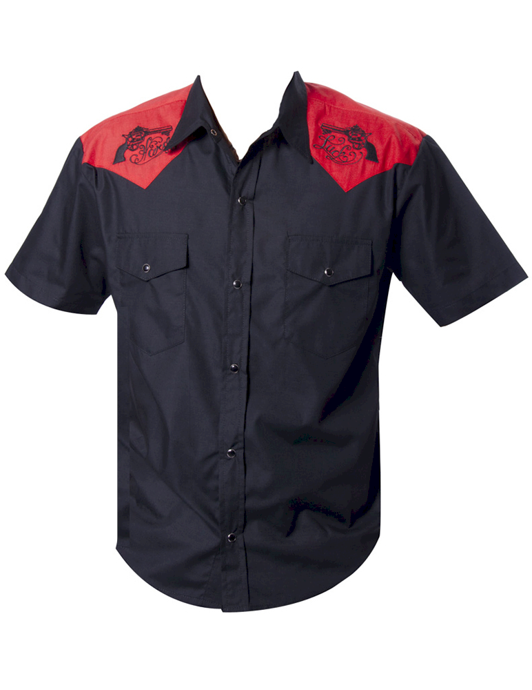 Mens Gun Embroidered Black Red Yokes Rockabilly Shirt