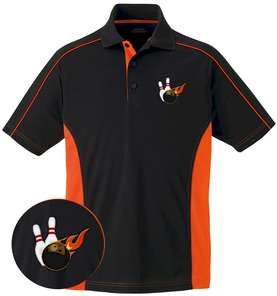 mens colorblock moisture wicking flame embroidered polo