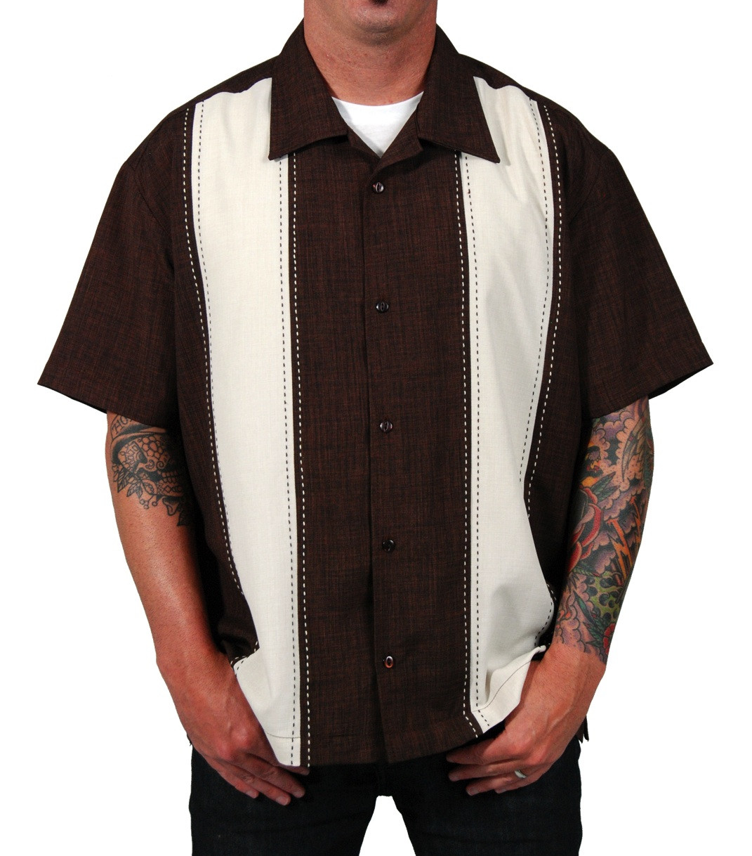 Mens Brown Cream Two Panel Button Down Retro Shirt