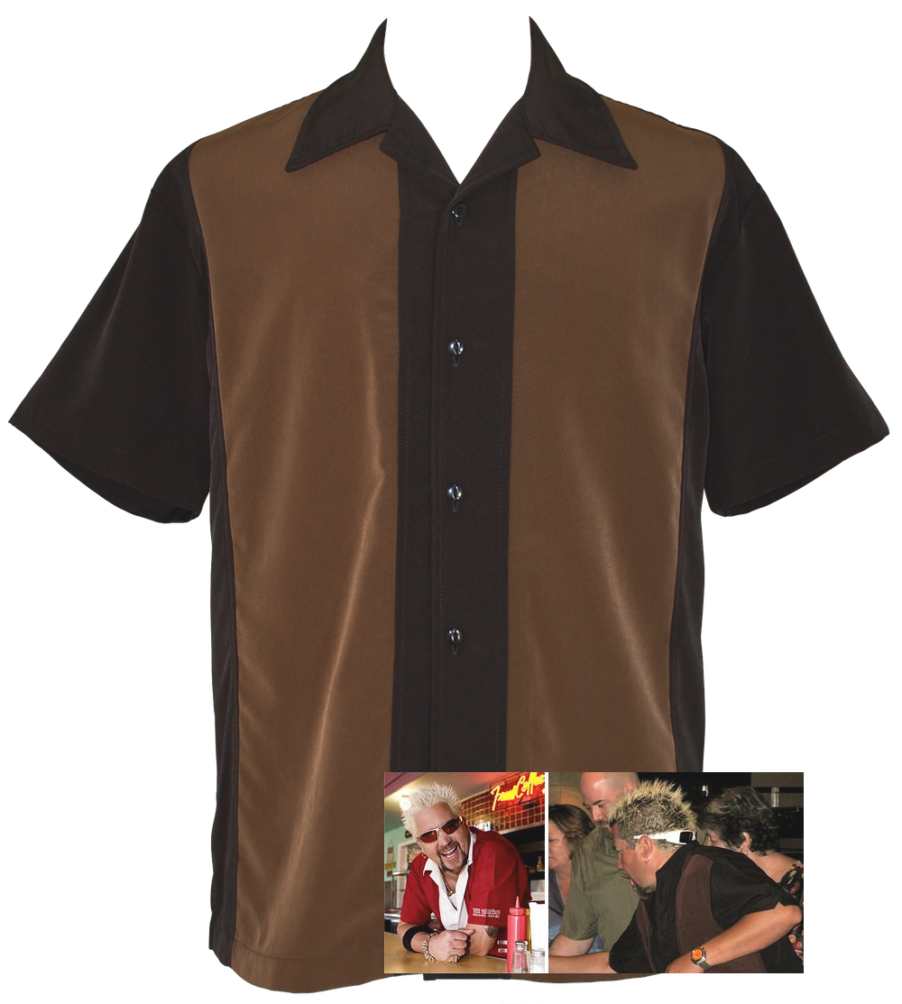 Retro bowling shirt fireball for Black brown mens shirts