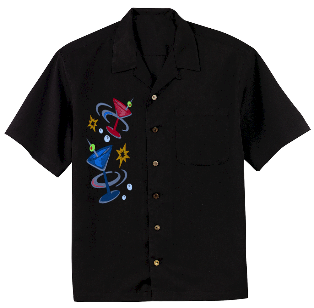 Mens Black Camp Embroidered Button Down Shirt