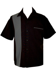 mens retro shirt black grey