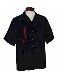 Mens Black Red Retro Star Embroidered Button Up Camp Shirt