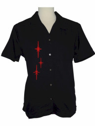 Womens Black Red Retro Star Embroidered Bowling Camp Shirt