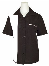 womens bowling shirt black white