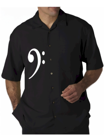 Mens Black Bass Clef Embroidered Button Down Jazz Shirt