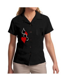 Womens Black Cards Embroidered Button Down Poker Shirt
