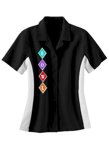 DIAMONDS : Ladies Bowling 50's Style Shirt  — CLOSEOUT